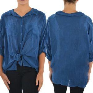 Maven West tie front button down shirt